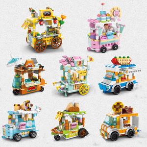 Mini City Street Architecture View Series Block Candy BBQ Drink Susi Car Shop Retail Store Building Bricks Kids DIY Toys