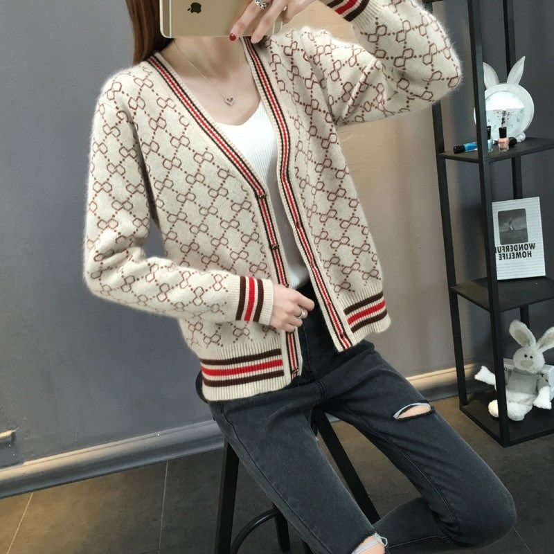 New Early Autumn Knitted Sweater Jacket, Loose Sweater, Cardigan A Winter Clothes Women