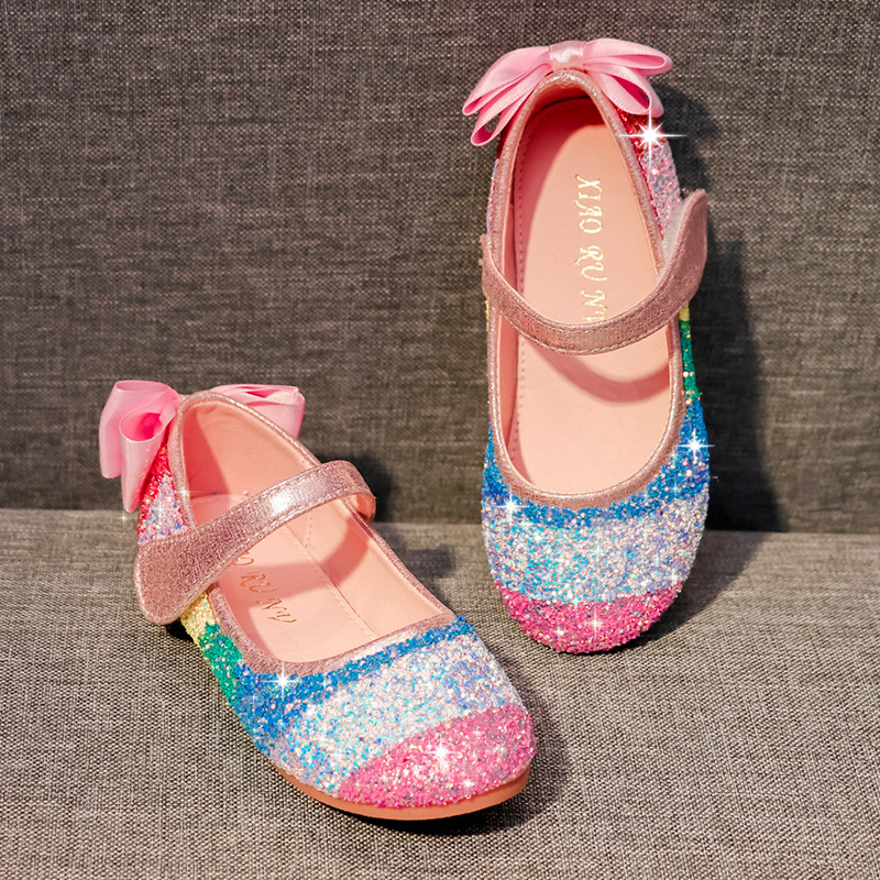 Fashion Girls Shoes Kids Leather Shoes Rainbow Sequins Sandals Spring Autumn Children Shiny Performance Girls Princess Shoes