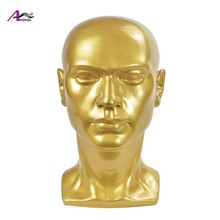 PVC Golden Male Mannequin Head for Hats Glassse Wigs Display Manikin Stand
