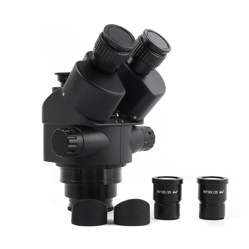 Simul Focal 3.5-90X Continuous Zoom Trinocular Stereo Microscope Head WF10X-20 Eyepiece Rubber Eye-guards