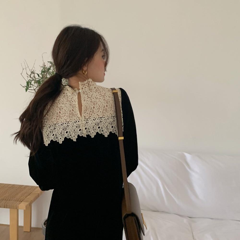 H3b7c3904fa044c29948c9564aaa8736aK - Autumn / Winter Korean O-Neck Long Sleeves Lace Patchwork Midi Dress