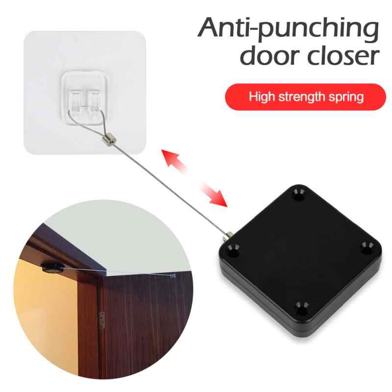Door Closer Automatic Adjustable Closers Auto Door-Closer Punch-Free Automatic Sensor Door Closer Automatically Close for All Doors Easy to Install 1.2M,1PC