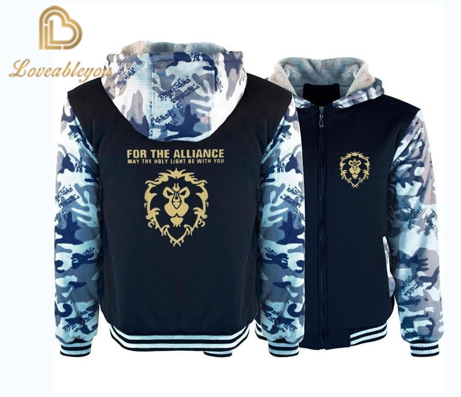 New WOW World Of Warcraft Hoodies Men Winter Zipper Streetwear Hip Hop Warm Sweatshirts Casual Hoodie Hooded For Kids And Adults