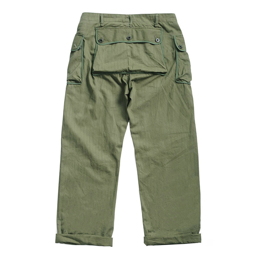P44-0001 World War 2 US Military Style USMC HBT P44 TROUSERS Mens Cotton Vintage Slim & Straight Fitting Casual Pants