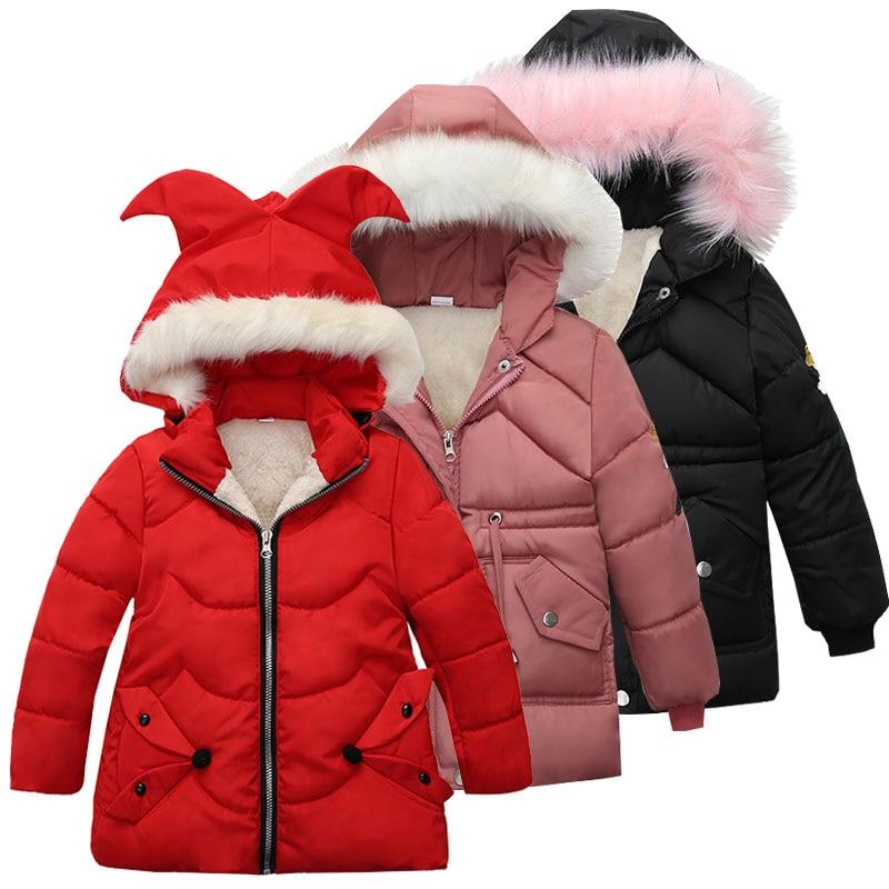 Теплая Утепленная зимняя куртка с меховым воротником для маленьких девочек Детская верхняя одежда ветрозащитные пальто для маленьких маль...