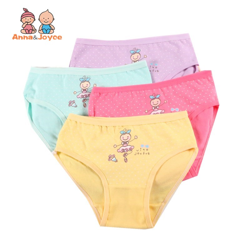 4Pc/Lot Girls Briefs Kids Underwear Panties Triangle Pants Suitable for 2-10 Years 2