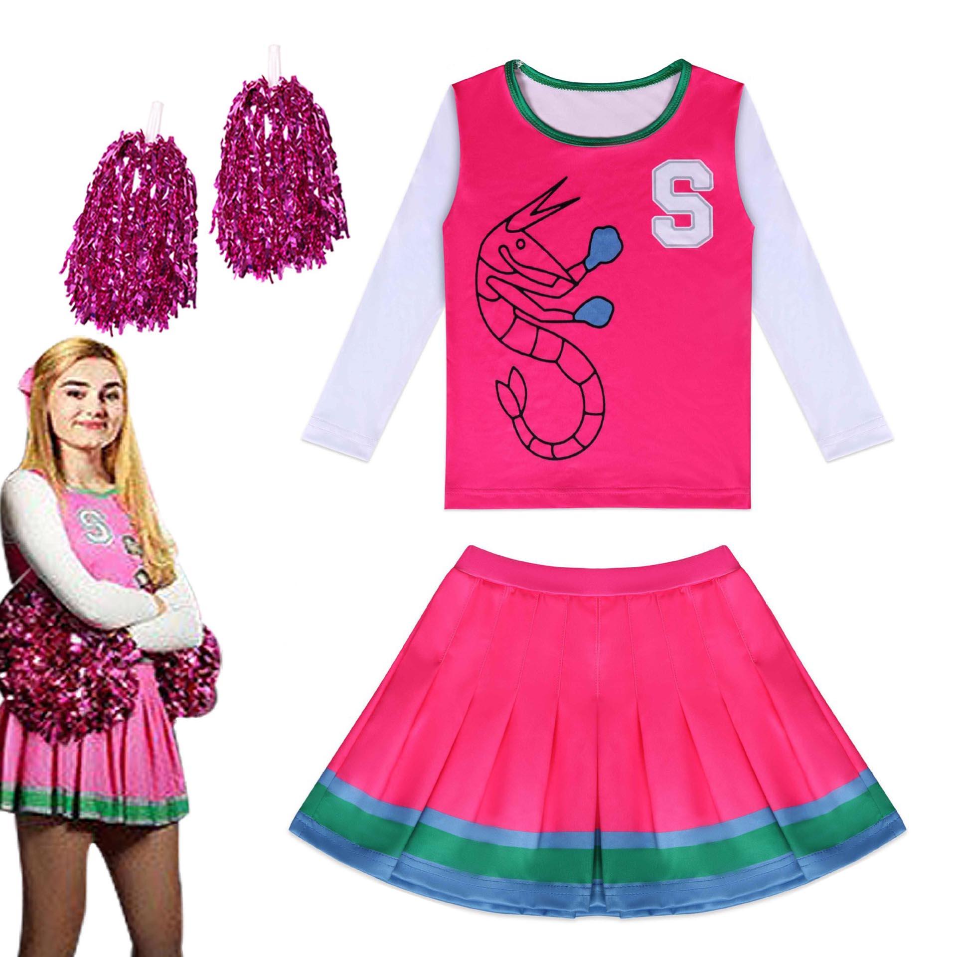 2020 meninas trajes de halloween zombies 2 addison cosplay cheerleader crianças topos + saia roupas conjunto fantasia com flor bola