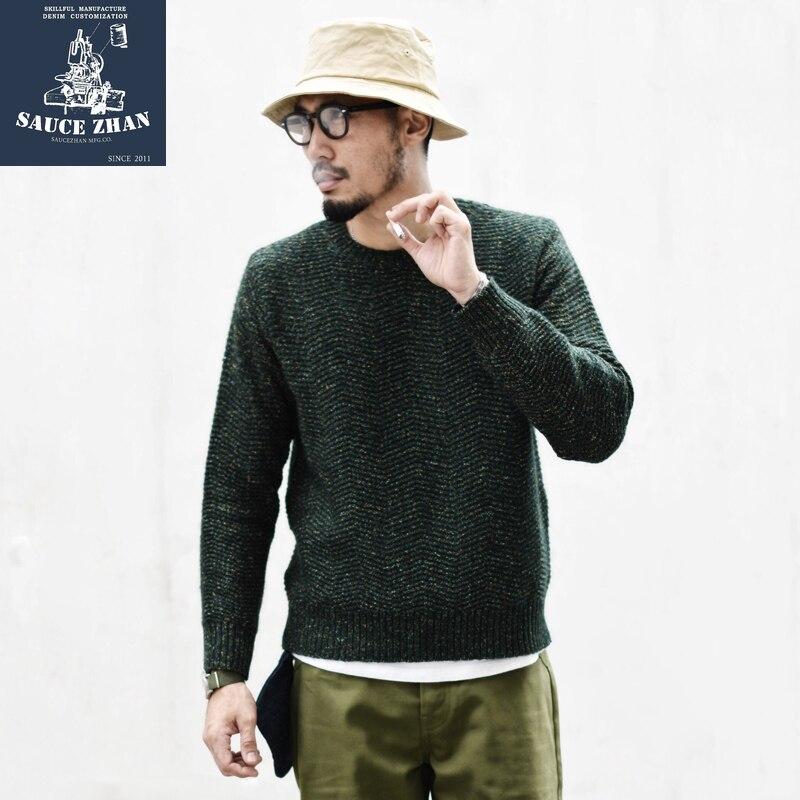 SauceZhan Fancy Yarn Sweater American Casual Wear Sweater Vintage Mens Sweaters 2019 Men Winter Sweater O-Neck Pullovers