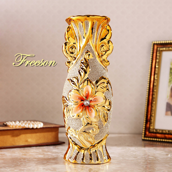Europe Gold Plated Frost Porcelain Vase Vintage Advanced Ceramic Flower Vase for Room Study Hallway Home Wedding Decoration 1