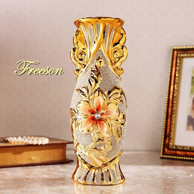 Europe Gold Plated Frost Porcelain Vase Vintage Advanced Ceramic Flower Vase for Room Study Hallway Home Wedding Decoration 1