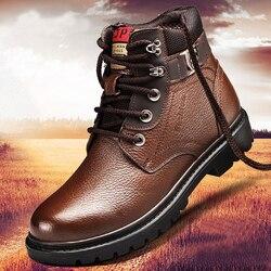Botas de neve de couro genuíno botas impermeáveis; botas quentes de pelúcia masculino