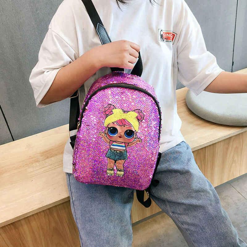 Kadın kız Sequins Glitter sırt çantası sırt çantası seyahat tatil omuz okul çantası moda kore tarzı çanta