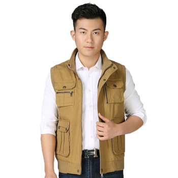 Man Multi Pocket Design Cotton Vest Autumn Spring Casual Army Green Khaki Waistcoat Male Sleeveless Daily Gilet Outerwear Men