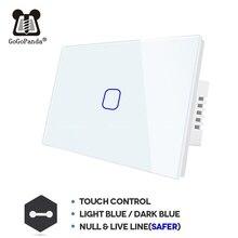 Interruptor táctil inteligente para pared, pulsador de pared estándar americano de 1, 2 y 3 entradas, 1 vía, sin control remoto, Wifi, Tipo Aplicación