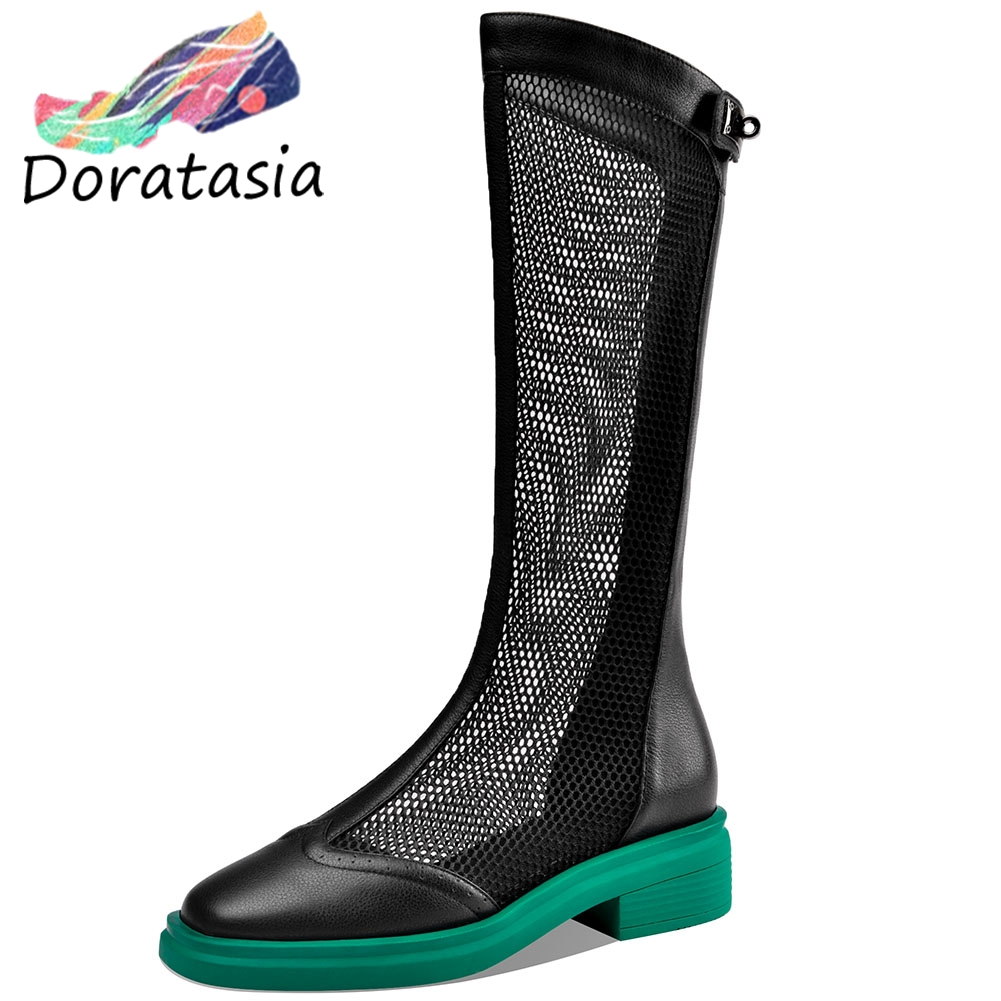 DORATASIA New Girl Brand Genuine Leather Summer Boots Breathable mid-calf Mesh Boots Women Fashion Platform Shoes Woman
