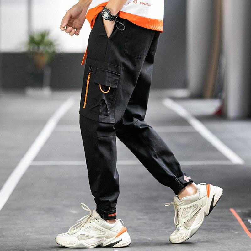 Весна 2020 новые Инс Tide Брендовые повседневные штаны на молнии с карманом на липучке с ремнем мужские комбинезоны Повседневные брюки      АлиЭкспресс