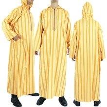 Vêtements islamiques hommes Robes caftan homme musulman marocain à capuche longue Robe arabe hommes rayé Robe moyen-orient Costume National