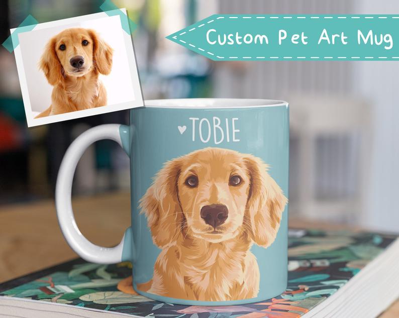 handmade coffee mug tea cup from your photo Custom Pet Portrait Mug with Gold Crown personalized pet dog cat portrait animal mug