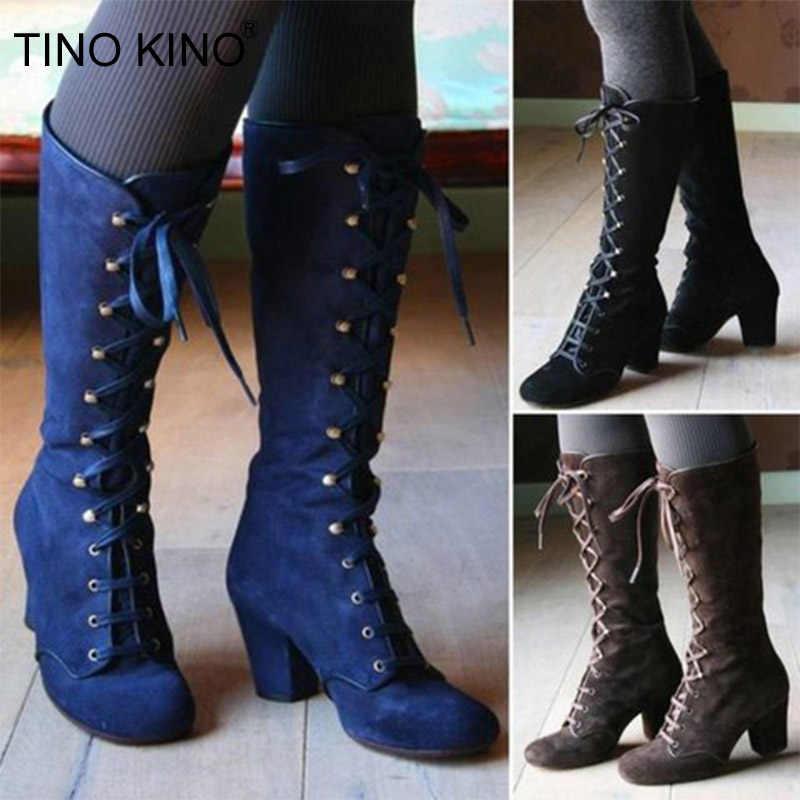 Nieuwe Vrouwen Platform Dij Hoge Laarzen Dames Lace Up Vierkante Hoge Hak Mid Calf Laarzen Vrouwelijke Kudde Rit Lange Laarzen plus Size Schoenen