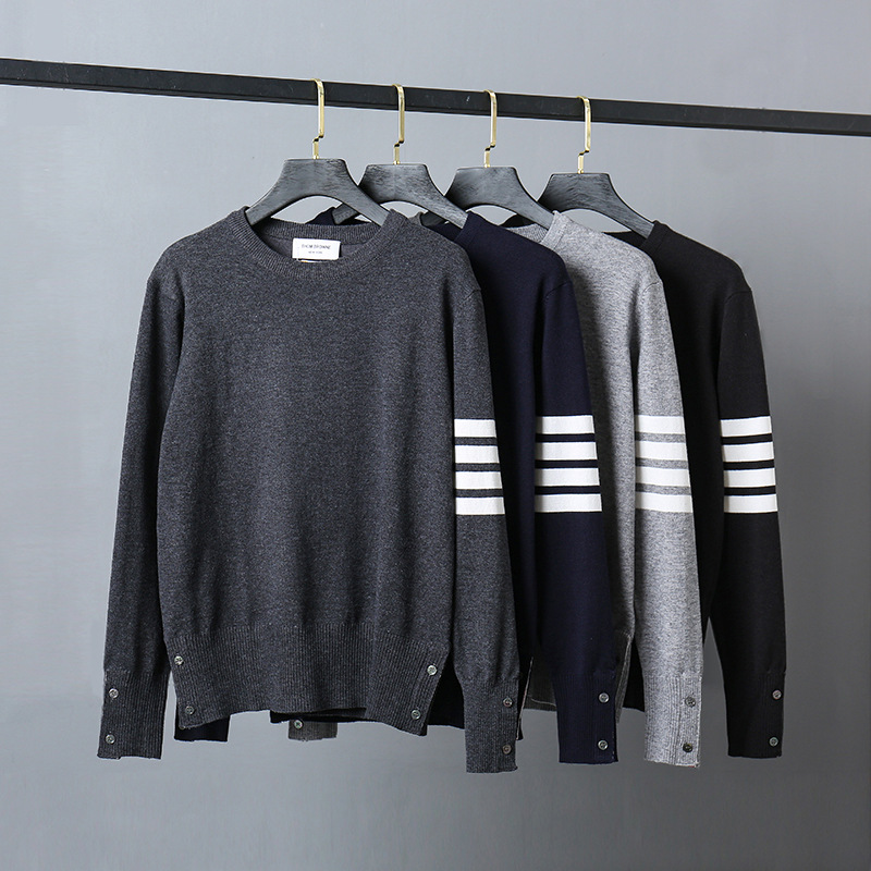 2021 модные брендовые свитера TB THOM, мужские облегающие пуловеры с круглым вырезом, одежда, полосатая шерстяная хлопковая однотонная осенне-зи...