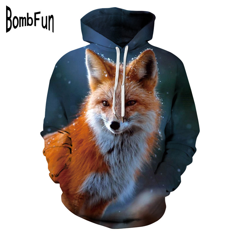 BombFun Men Hoodies Animal 3d Sweatshirts Men Fox Hoodie 3d Print Hooded Couple Tracksuits Women Hoodies High Quality Out Wears