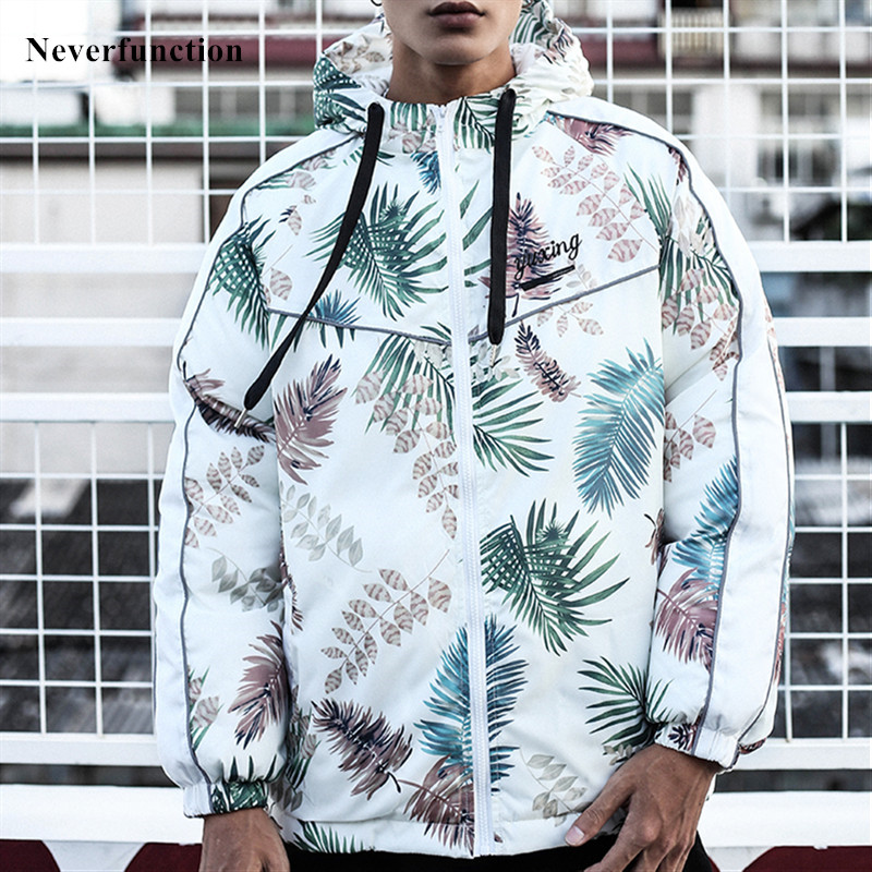 Winter Men Leaves Printed Thick Warm Hooded Windproof Padded Jacket Hip Hop Streetwear Man Loose Casual Parka Outerwear