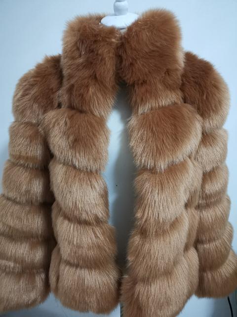 2018 new winter imported fox fur coat female temperament warm womens plus size fashions faux fur coat Three Quarter sleeve coat