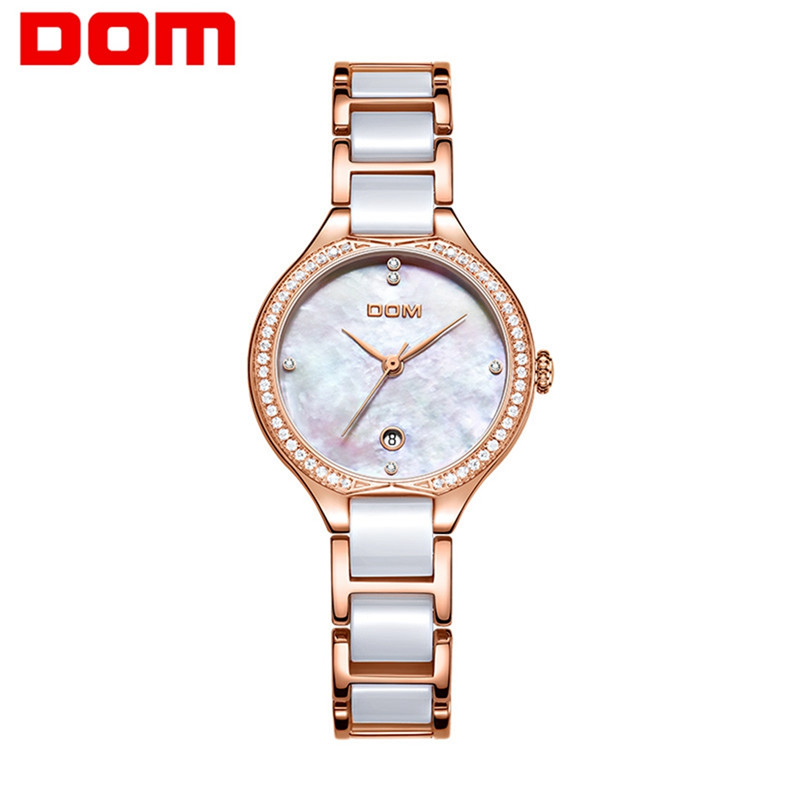 DOM Watch Women Luxury Jewelry Plating Shell Waterproof Stainless Steel Ceramics Ladies Watches Top Brand Bracelet Quartz Clock