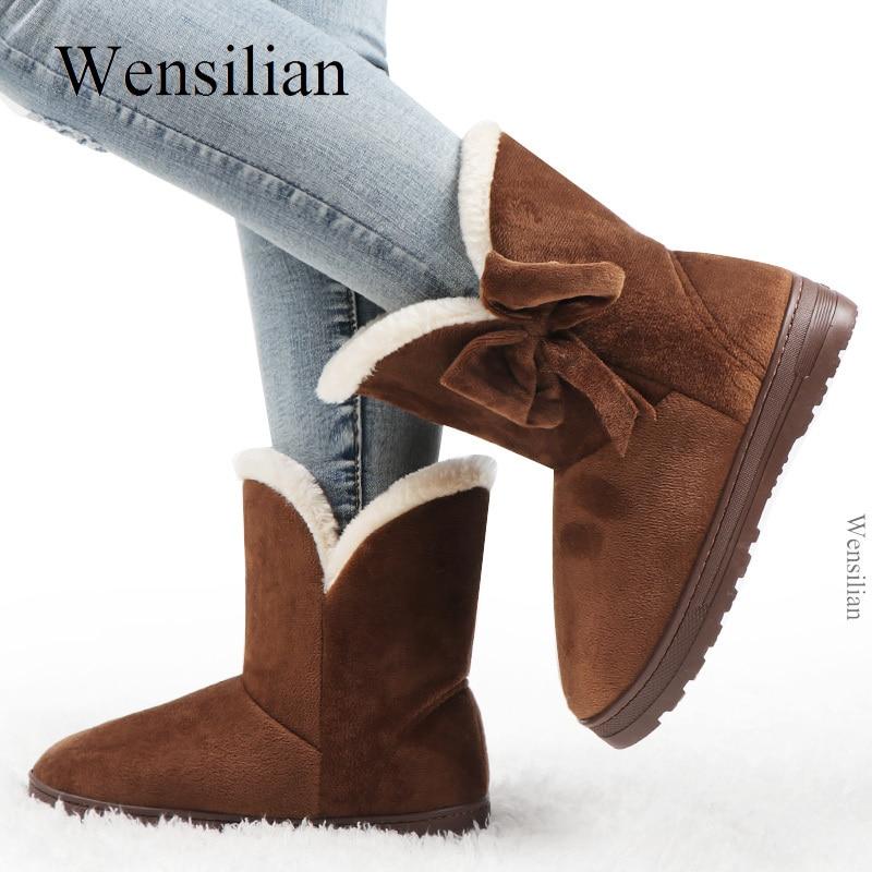 Bottes de neige d'hiver noeud papillon femmes bottes bottines solides sans lacet baskets Femme Chaussures décontractées bout rond Chaussures Femme