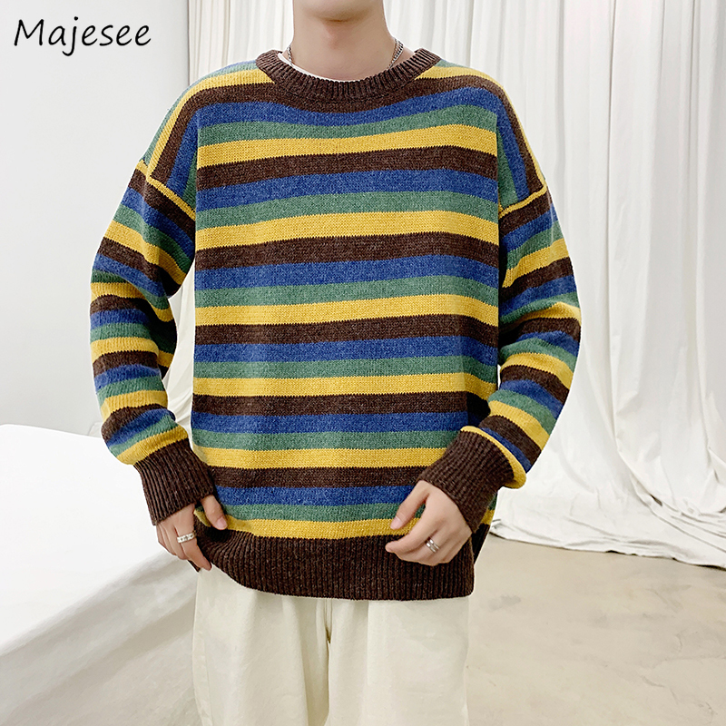 Men Sweater Plus Size Striped Simple Korean Clothes Mens Sweaters And Pullovers Males Winter Warm Pullover O-neck Long Sleeve