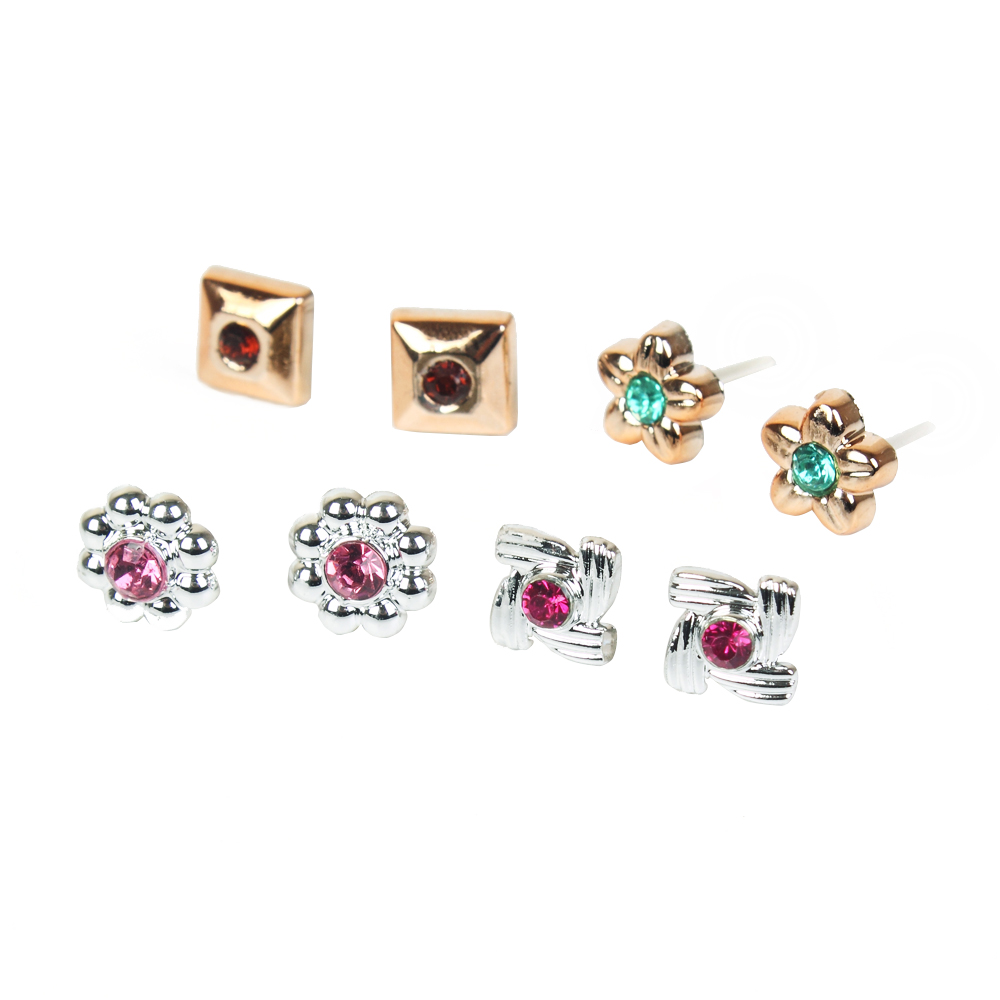 100 Pairs Women Acrylic Crystal Small Stud Earrings Sets Girl Child Heart Star Animal Moon Crown Earring Jewelry