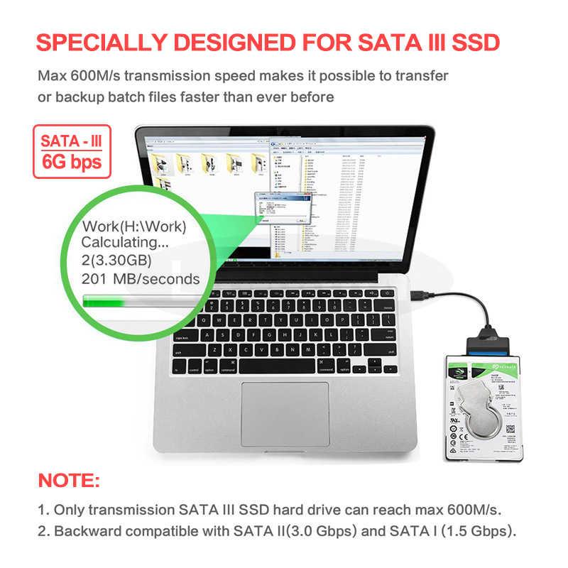 USB Sata Cable Sata a USB 3,0 adaptador de soporte 2,5 pulgadas External SSD Disco Duro HDD 22 Pin Sata III Cable USB Sata adaptador 3,0