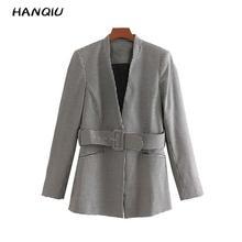2019 Vintage tweed blazer women plaid blazer coats korean style houndstooth blaz