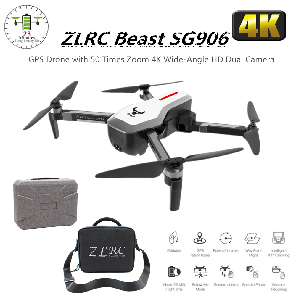ZLRC SG906 GPS Drone 4K Quadcopter with 5G Wifi FPV Camera Brushless Dron Selfie Foldable Quadrocopter VS SJRC F11 Pro X9 B4W