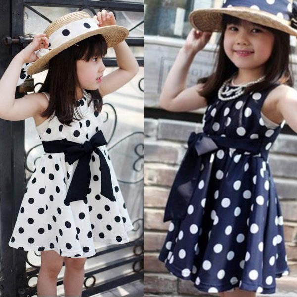 Fashion Baby Dress Cute Kids Toddlers Girls Sundress Polka Dots Chiffon Tunic Bowknot Belt Dress