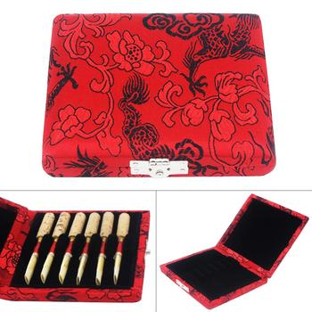 Red Oboe Reeds Storage Box Wood Case with Exquisite Dragon Embroidery for 6 Reeds Clarinet Oboe Reeds reeds astro navigation tables 2017