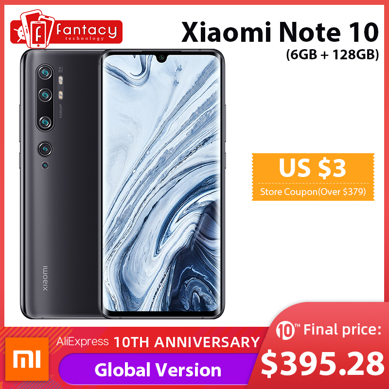 In Stock Global Version Xiaomi Mi Note 10 6GB 128GB 108MP Penta Camera Snapdragon 730G Octa-core Cellphone 6.47'' Curved 5260mAh