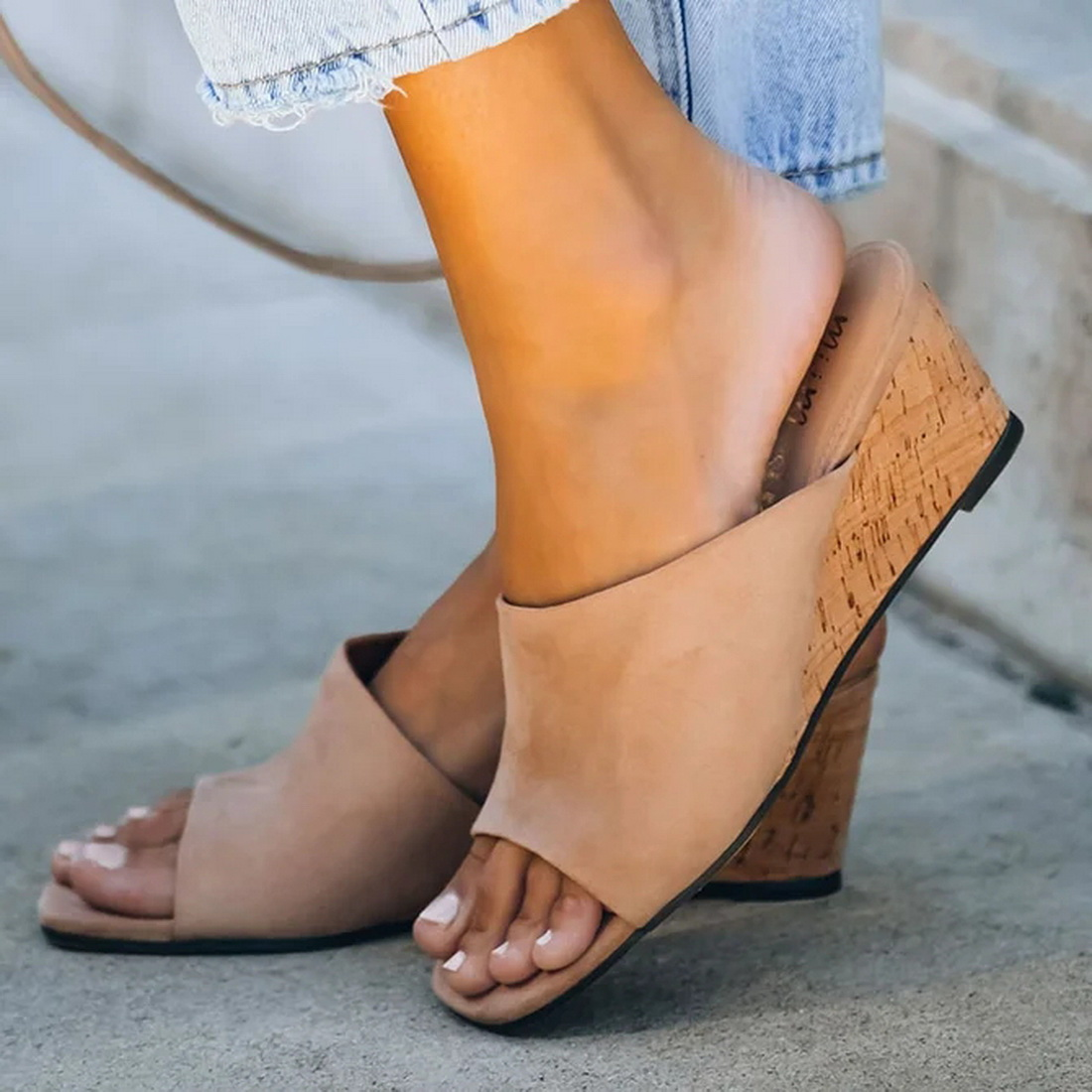 Women Slippers 2020 Summer Casual Beach Slip on Platform Ladies Sandals Dress Party Peep Toe Female Sandals Plus 43