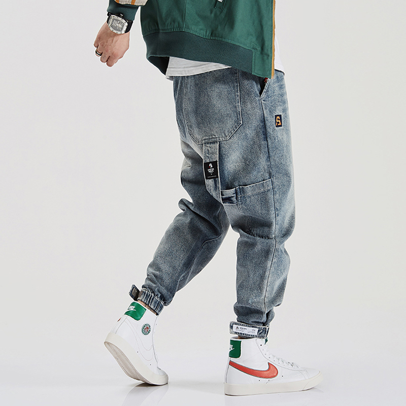High Quality American Streetwear Fashion Men Jeans Loose Fit Multi Pockets Cargo Pants Harem Jeans Designer Hip Hop Jogger Jeans