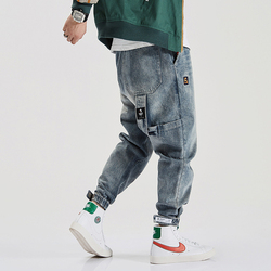 Hoge Kwaliteit Amerikaanse Streetwear Mode Mannen Jeans Loose Fit Multi Pockets Cargo Broek Harem Jeans Designer Hip Hop Jogger Jeans