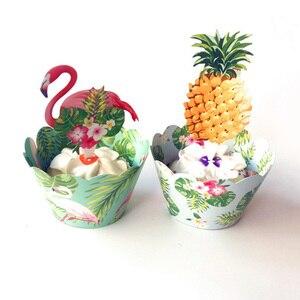 Image 5 - Листик для торта с тропическими листьями, верхушка для кексов, Летняя Вечеринка, джунгли, день рождения, гавайская вечеринка, украшение для торта
