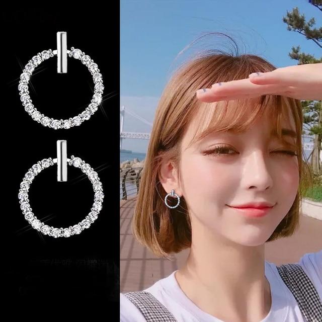 LByzHan Free Shipping Fashion 925 Sterling Silver Crystal Rhinestone Geometric Round Stud Earrings For Women Beautiful Jewelry 1