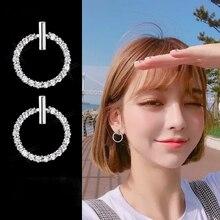 LByzHan Free Shipping Fashion 925 Sterling Silver Crystal Rhinestone Geometric Round Stud Earrings For Women Beautiful Jewelry