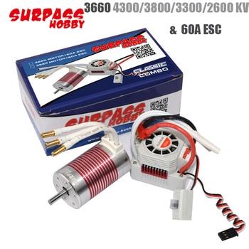 2pcs/set Platinum Waterproof 3660 4300KV/3800KV/3300KV/2600KV Sensor Brushless Motor with 60A ESC Kit for 1/10 RC Car Truck Toy