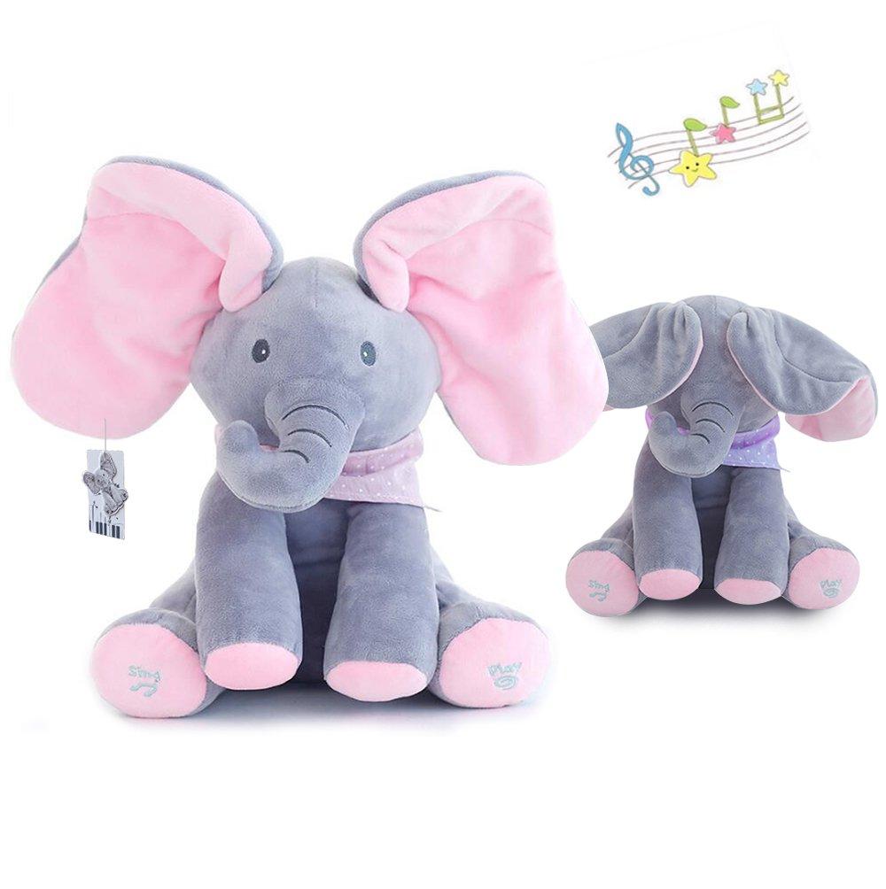 Высокое качество детская музыкальная Flappy ухо плюшевый слон интерактивные поют и играть спрятать чучело игрушка для маленьких девочек