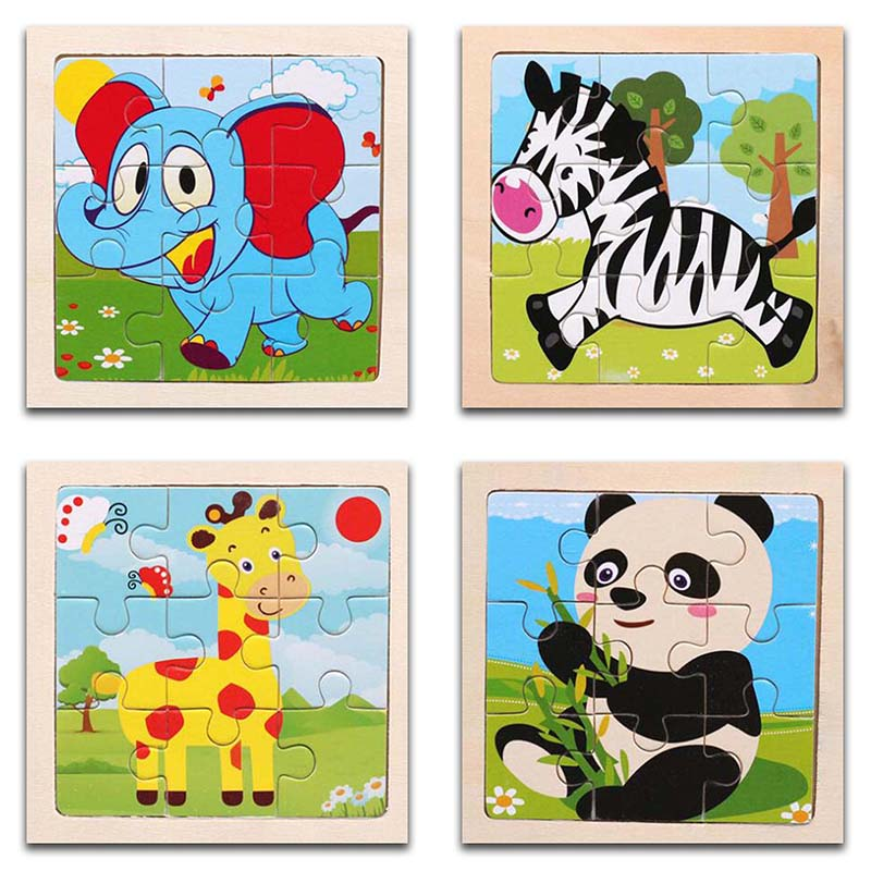 3D Paper Kids Children's Baby Early Childhood Educational Toy Cartoon Forest Animals Wooden Small 9-Piece Jigsaw Puzzle