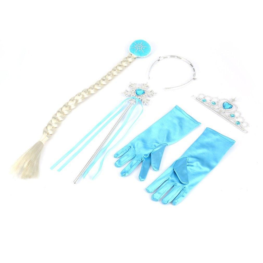 4Pcs/Set Elsa Anna Princess Crown Magic Wand Braid Gloves Magic Wand+Rhinestone Hair Crown+Glove Girl Hair Accessiories Cosplay
