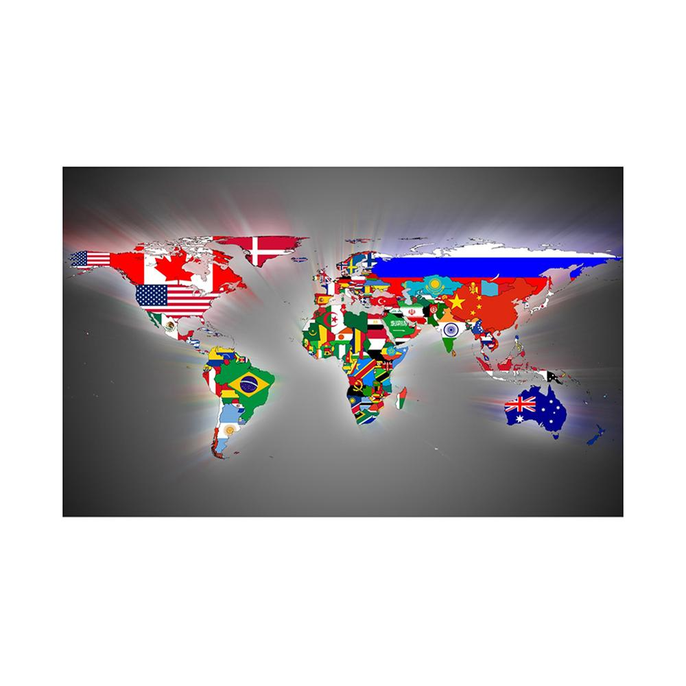 150x225cm DIY World Map Made Up Of National Flags Pattern Wall Decor World Map For Home And Office Decor