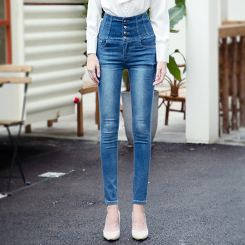 Casual Women's Jeans 2020 Srping  High Waist Skinny Blue S-6XL Over Size Stretch Denim Jeans For Women Sweatpants brand new arrival high quality female jeans casual high waist women jeans skinny denim pants black blue trousers plus size s 6xl